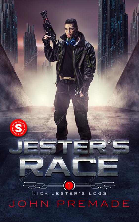 Sci-Fi Cyberpunk premade book cover.